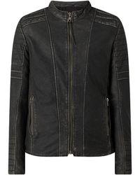 Tigha Lederjacke mit Reißverschlusstaschen Modell 'Cadan' - Grau