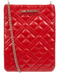 Love Moschino Gsm-tasje Met Doorgestikte Naden - Rood