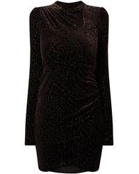 Vila Kleid mit Animal-Print aus Samt Modell 'Leopanda' - Schwarz