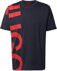 HUGO T-Shirt mit Label-Schriftzug Modell 'Daws' - Blau
