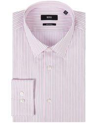 BOSS by HUGO BOSS Regular Fit Business-Hemd aus Baumwolle mit extra langem Arm Modell 'Eliott' - Pink