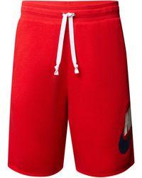 Nike Standard Fit Bermudas mit Label-Print - Rot