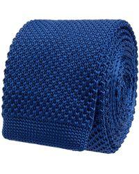 Jake*s Strickkrawatte in schmaler Form (5 cm) - Blau