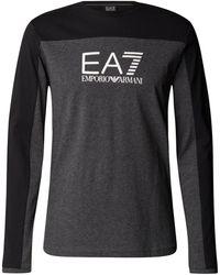 EA7 Longsleeve aus Baumwolle mit Label-Streifen - Grau