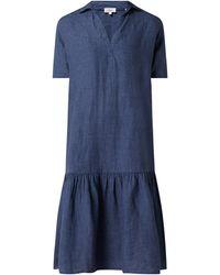 s.Oliver RED LABEL Oversized Leinenkleid mit Umlegekragen - Blau