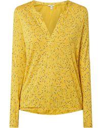 Esprit Shirt Met Lange Mouwen En Tuniekkraag - Geel