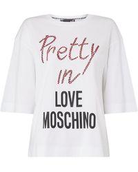 Love Moschino Shirt mit Message- und Logo-Print - Weiß