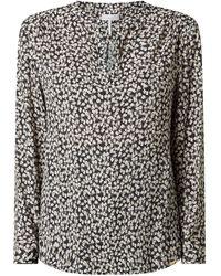 Cinque Blusenshirt aus Viskose mit floralem Muster Modell 'Taube' - Schwarz