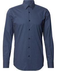 BOSS by HUGO BOSS Slim Fit Business-Hemd mit Allover-Muster - Blau