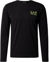 EA7 Longsleeve aus Baumwolle mit Label-Print - Schwarz