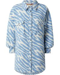 Numph Jacke mit Animal-Print Modell 'Nuclaude' - Blau