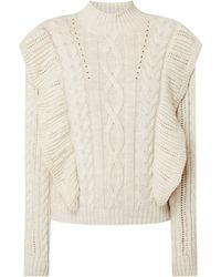 EDITED Pullover mit Volants Modell 'Alice' - Weiß