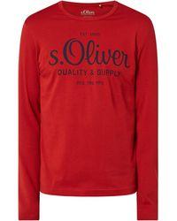 s.Oliver RED LABEL Regular Fit Longsleeve mit Logo - Rot