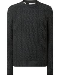 SELECTED Pullover mit Zopfmuster Modell 'Victor' - Grau