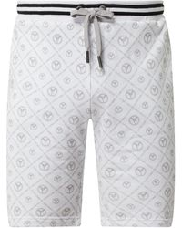 carlo colucci Sweatshorts mit Logo-Muster - Weiß