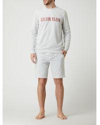Calvin Klein Korte Pyjamabroek Met Logoband - Grijs