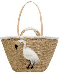 Bali-BAli Strandtasche mit Flamingo-Stickerei - Weiß
