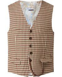 CG – Club of Gents Slim Fit Weste mit Leinen-Anteil Modell 'Mason' - 'Savile Row' - Rot