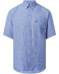 Fynch-Hatton Regular Fit Leinenhemd - Blau