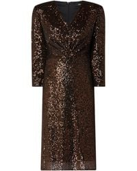 s.Oliver BLACK LABEL Kleid mit Pailletten - Braun