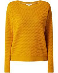 Esprit Oversized Pullover mit Waffelstruktur - Gelb