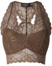 Soaked In Luxury Bustier aus floraler Spitze Modell 'Dolly' - Braun