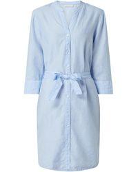 Eterna Blusenkleid aus Baumwoll-Leinen-Mix - Blau