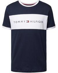 Tommy Hilfiger Blaues Lounge-T-Shirt mit Rundhalsausschnitt und kontrastierendem Logo-Einsatz auf der Vorderseite