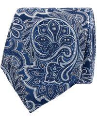 Christian Berg Men Stropdas Van Zijde Met Paisleymotief (7 Cm) - Blauw