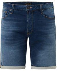 Jack & Jones Regular Fit Jeansshorts mit Stretch-Anteil Modell 'Rick' - Blau