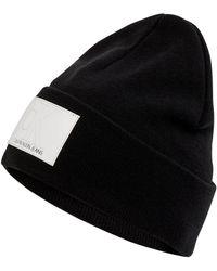 Calvin Klein Beanie aus Baumwollmischung - Schwarz