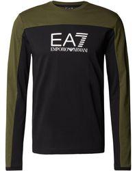 EA7 Longsleeve aus Baumwolle mit Label-Streifen - Schwarz