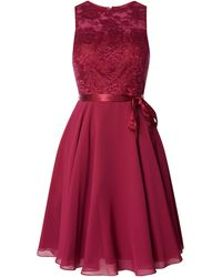 Luxuar Cocktailkleid aus Chiffon und Spitze - Rot