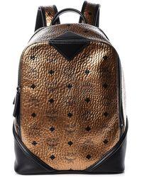 MCM Metallic Visetos Small Duke Backpack Gold