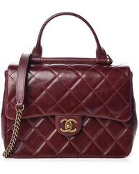 Chanel Calfskin Quilted Medium Gold Bar Top Handle Flap Burgundy - Multicolor