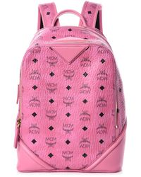 MCM Visetos Small Duke Backpack Pink