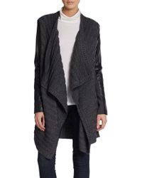 Adrianna Papell - Amelia Leather Panelled Open Cardigan - Lyst