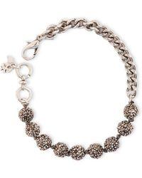 Lucky Brand Silver Tone Crystallized Ball Link Bracelet - Lyst