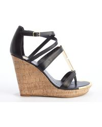 Dv By Dolce Vita Black Leather Tabby Cork Wedge Heel Sandals - Lyst