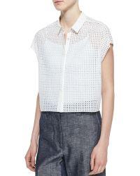 Rag & Bone Lakewood Short-Sleeve Perforated Shirt - Lyst
