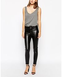 Dr. Denim Faux Leather Skinny Jeans With Ankle Zips - Lyst