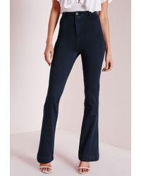 Missguided Wild Child High Waisted Flare Jeans Indigo Blue