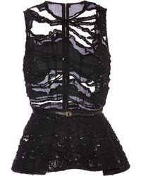 Elie Saab Embroidered Black Double Silk Georgette Top - Lyst