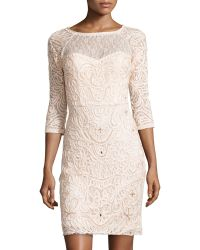 Sue Wong Three Quarter Sleeve Embroidered Sheath Dress - Lyst