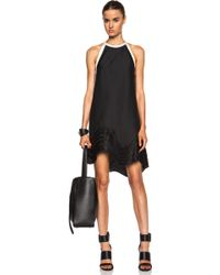 3.1 Phillip Lim Poly-Blend Dress With Wavy Lines Embroidered Hem - Lyst