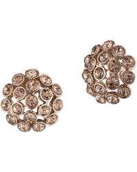 Anne Klein Tinted Button Earrings - Pink