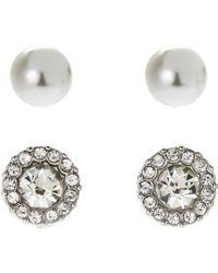 Ak Anne Klein - Faux Pearl & Cushioned Stud Earrings - Lyst