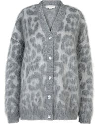 Stella McCartney Grey Leopard Cardigan gray - Lyst