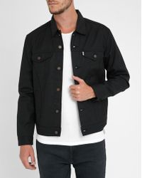 Levi's | Black Waxed Cotton Trucker Jacket | Lyst