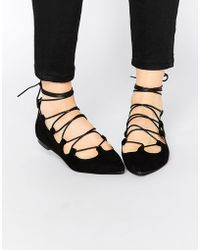 Glamorous Black Suede Ghillie Tie Up Flat Shoes